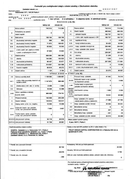 Economy profile - Zakládání staveb, a. s.